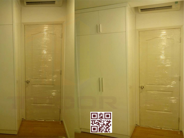 Mẫu cửa gỗ HDF 2 Ô sơn trắng kem