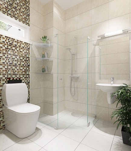 Phòng vệ sinh trên lầu sạch sẽ và thoáng đãng