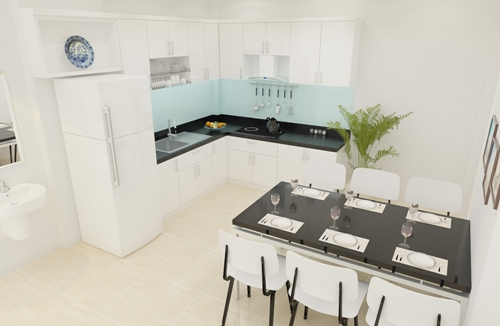 Phòng ăn và bếp sạch sẽ và thoáng đãng