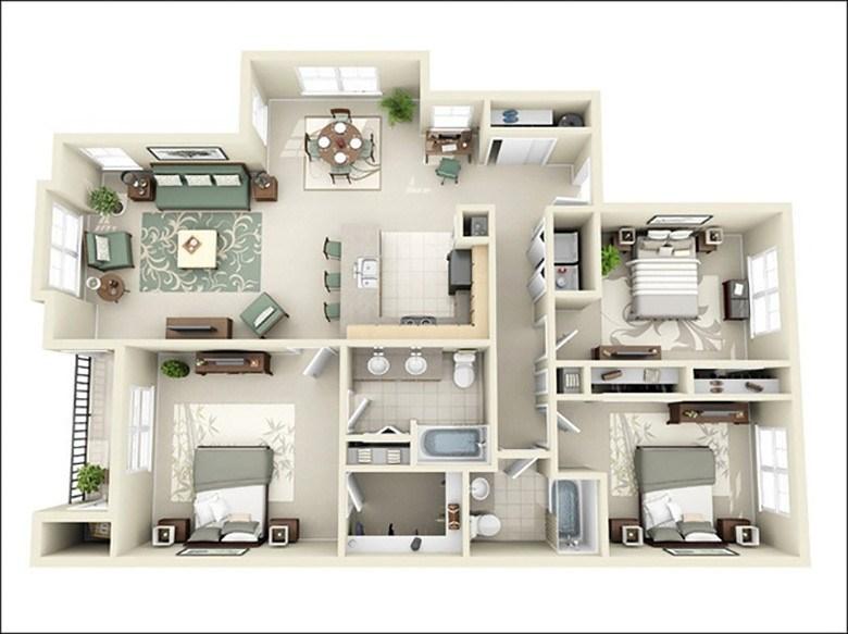 Cách bố trí nhà 3 phòng ngủ