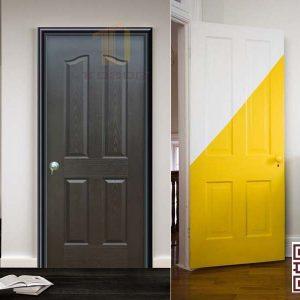 Cửa gỗ HDf 4 ô nhiều màu sắc