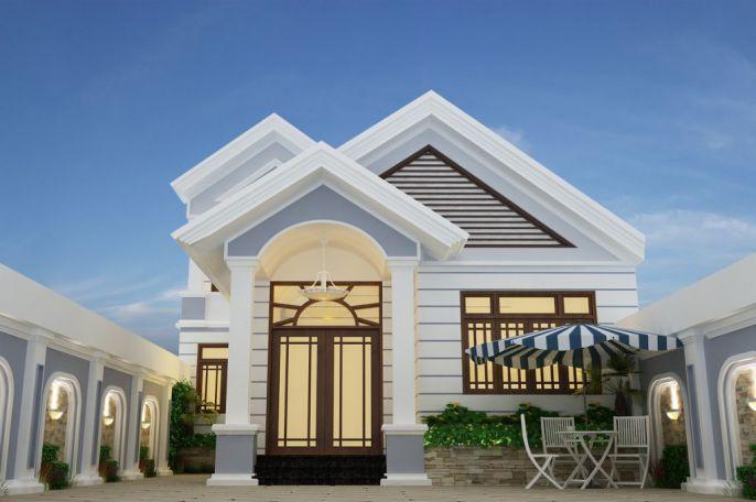 Mẫu 12: Với phong cách nhà dưới 4 dưới 300 triệu màu trắng trọng điểm, thiết kế ngôi nhà một cách chi tiết, vuông vít cạnh