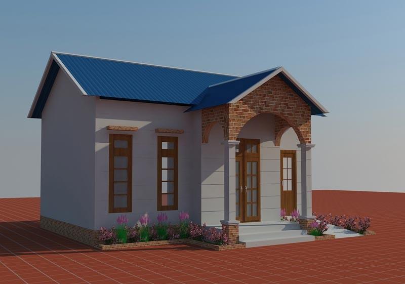 Mẫu 9 - Phối cảnh nhà cấp 4 (6x8m) góc 1 - Chi phí xây nhà150 triệu đồng