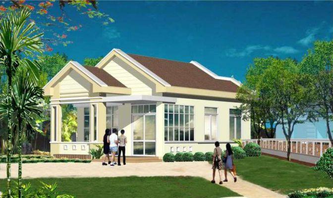 Mẫu 25: Mẫu nhà thiết kế có gam màu sơn và thiết kế phong cách đơn giản, nhiều cửa sổ kính nên giúp cho ngôi nhà thêm sáng và nổi bật hơn.