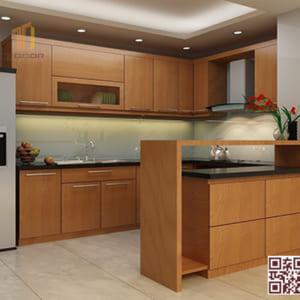 Tủ bếp gỗ ghép U03