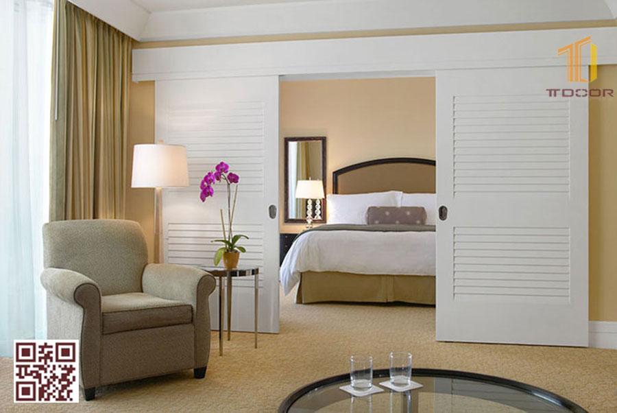 Mẫu Cửa gỗ lùa trượt 2 cánh cho phòng ngủ khách Sạn: