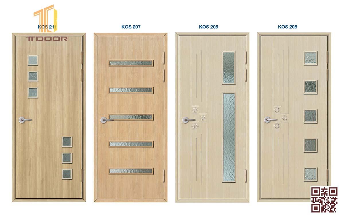Mẫu cửa nhựa ABS giả gỗ cao cấp ABS nhà vệ sinh, nhà Tắm có ô kính đẹp