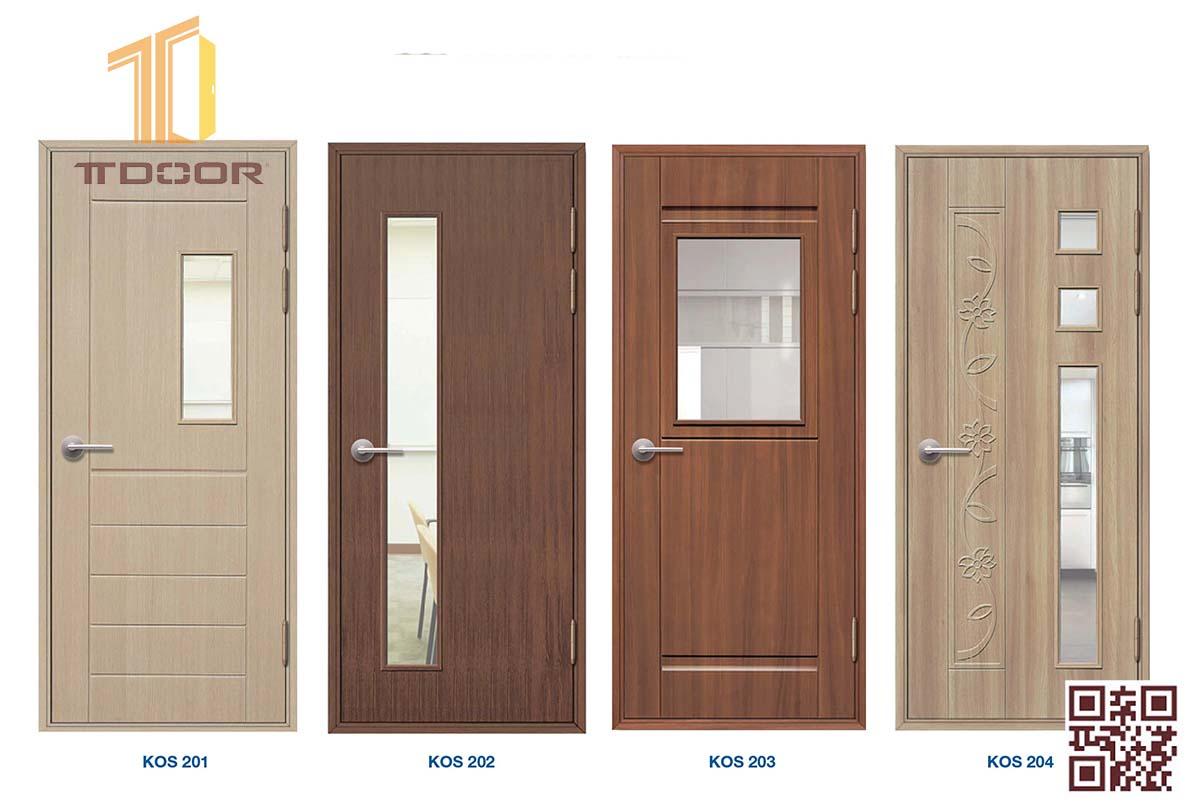 cửa nhựa giả gỗ cao cấp ABS nhà vệ sinh, nhà Tắm có ô kính làm cửa lùa có ô kính làm cửa lùa