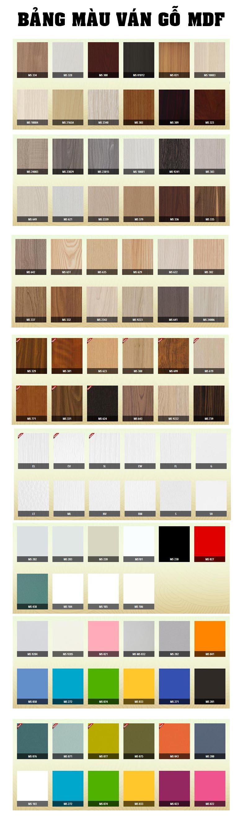 Tất cả bảng màu về gỗ MDF Công Nghiệp bạn cần quan tâm
