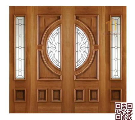 mẫu cửa gỗ tự nhiên 4 cánh - P4SNH